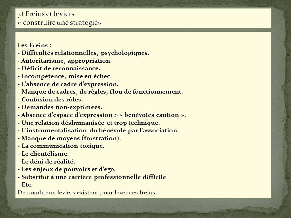 Les Freins : - Difficultés relationnelles, psychologiques. - Autoritarisme, appropriation. - Déficit de reconnaissance. - Incompétence, mise en échec.