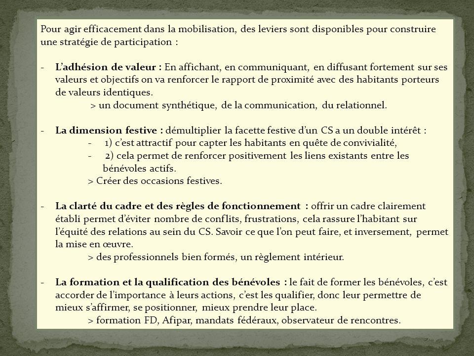 3) Freins et leviers « construire une stratégie» Pour agir efficacement dans la mobilisation, des leviers sont disponibles pour construire une stratég