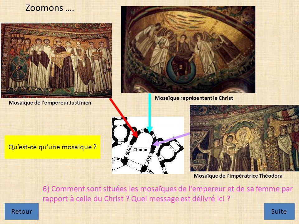 Mosaïque de lempereur Justinien Mosaïque de limpératrice Théodora Mosaïque représentant le Christ Zoomons ….