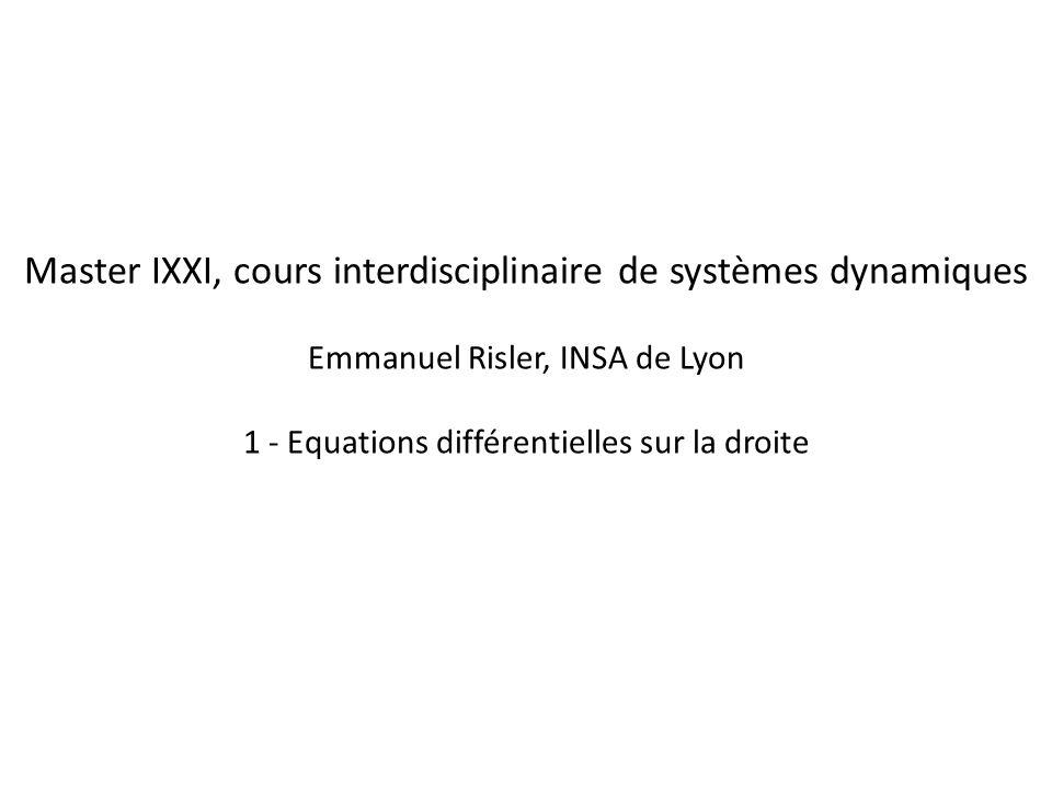 dx/dt = f(x) x Equilibre instable f(x) 1.Linéaire 2.= 1 + ressources limitées 3.= 2 + effet Hallee Equilibre stable
