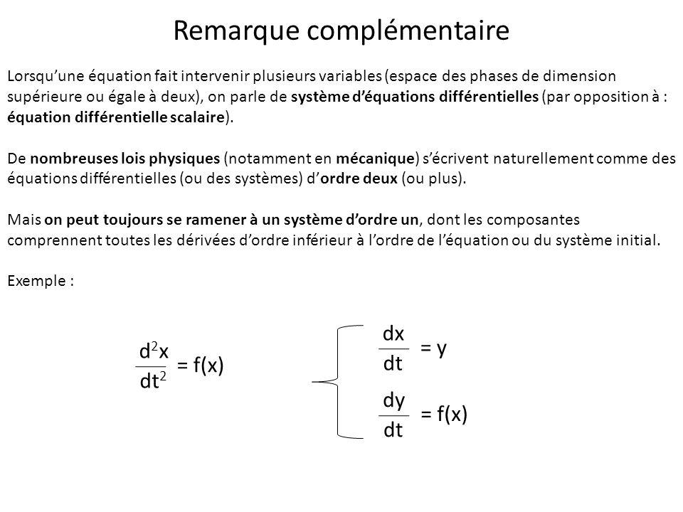 Lorsquune équation fait intervenir plusieurs variables (espace des phases de dimension supérieure ou égale à deux), on parle de système déquations dif