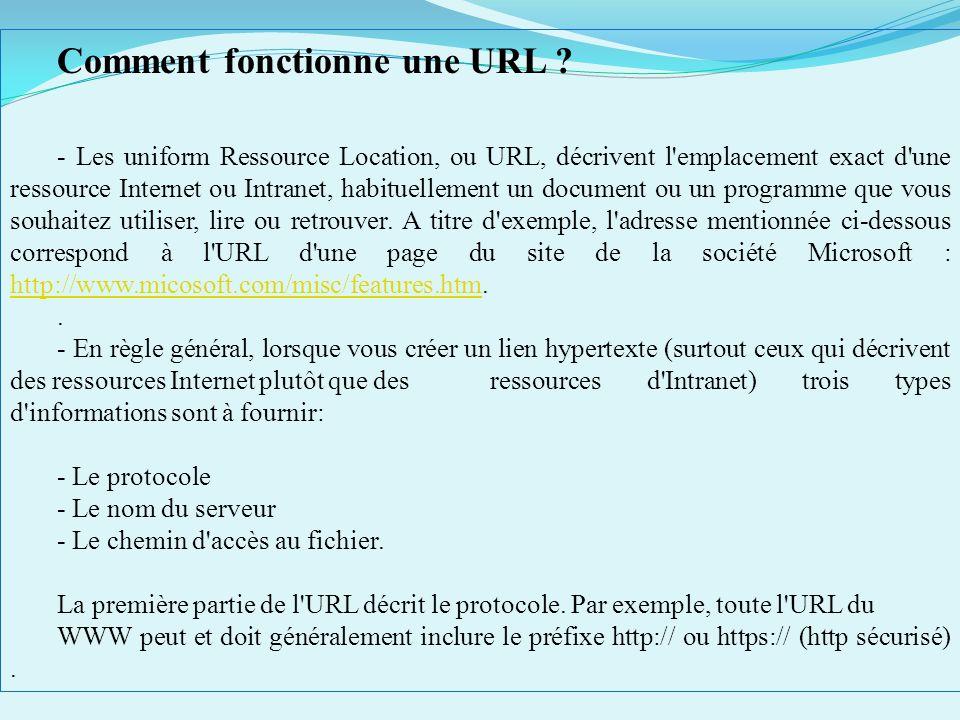PROTOCOLES INTERNET PréfixeAction du protocole ftp://Véhicule des fichiers entre des ordinateurs http://Véhicule de manière sécurisée des pages Web en