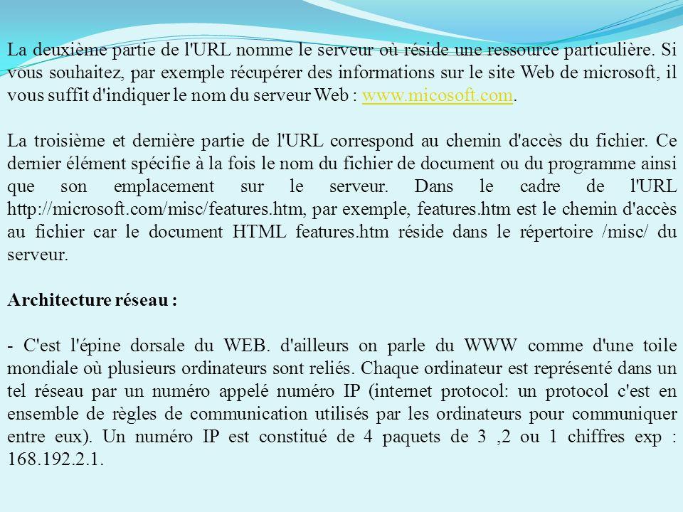 Comment fonctionne une URL ? - Les uniform Ressource Location, ou URL, décrivent l'emplacement exact d'une ressource Internet ou Intranet, habituellem
