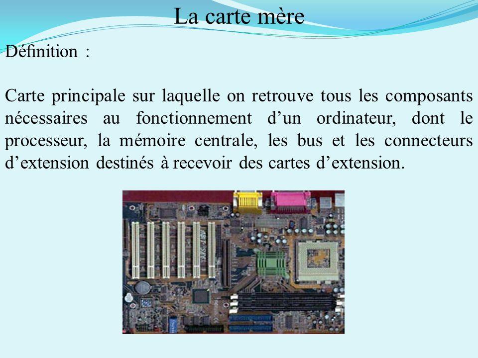 Différents composants dun ordinateur : - La carte mère - Le processeur - La mémoire vive - Le disque dur - Le lecteur et/ou graveur de CD-Rom et/ou DV