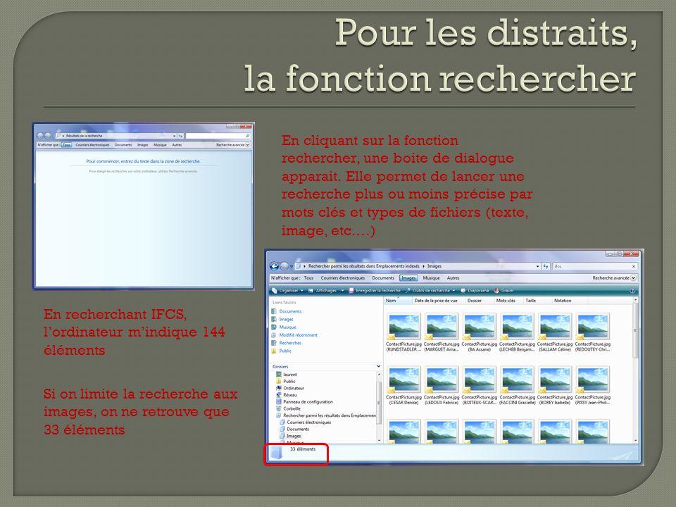 En cliquant sur la fonction rechercher, une boite de dialogue apparait. Elle permet de lancer une recherche plus ou moins précise par mots clés et typ