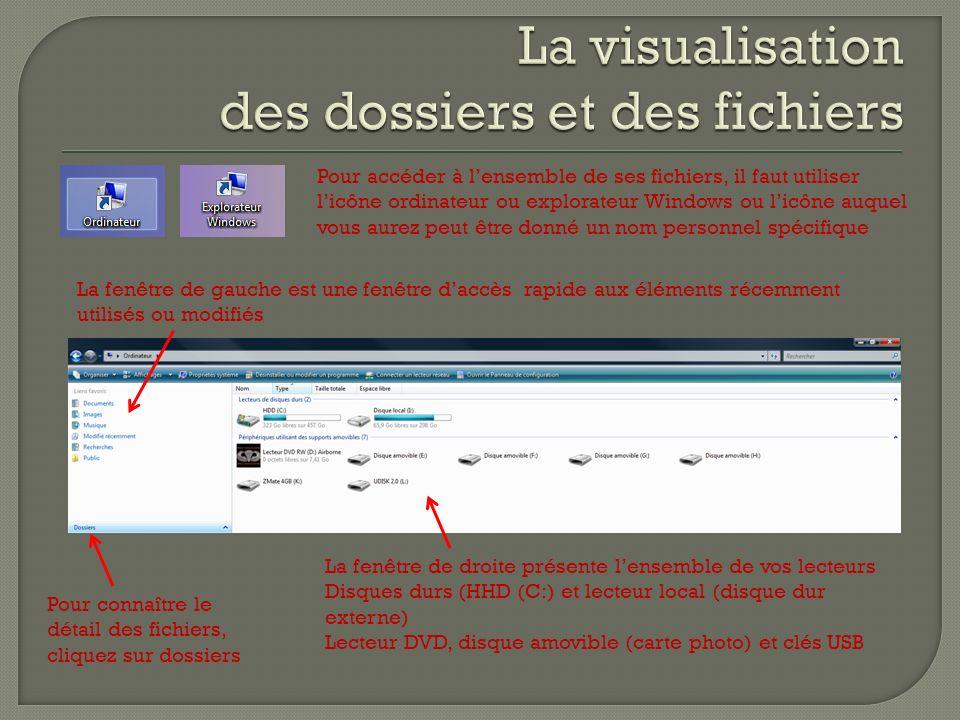 Pour accéder à lensemble de ses fichiers, il faut utiliser licône ordinateur ou explorateur Windows ou licône auquel vous aurez peut être donné un nom