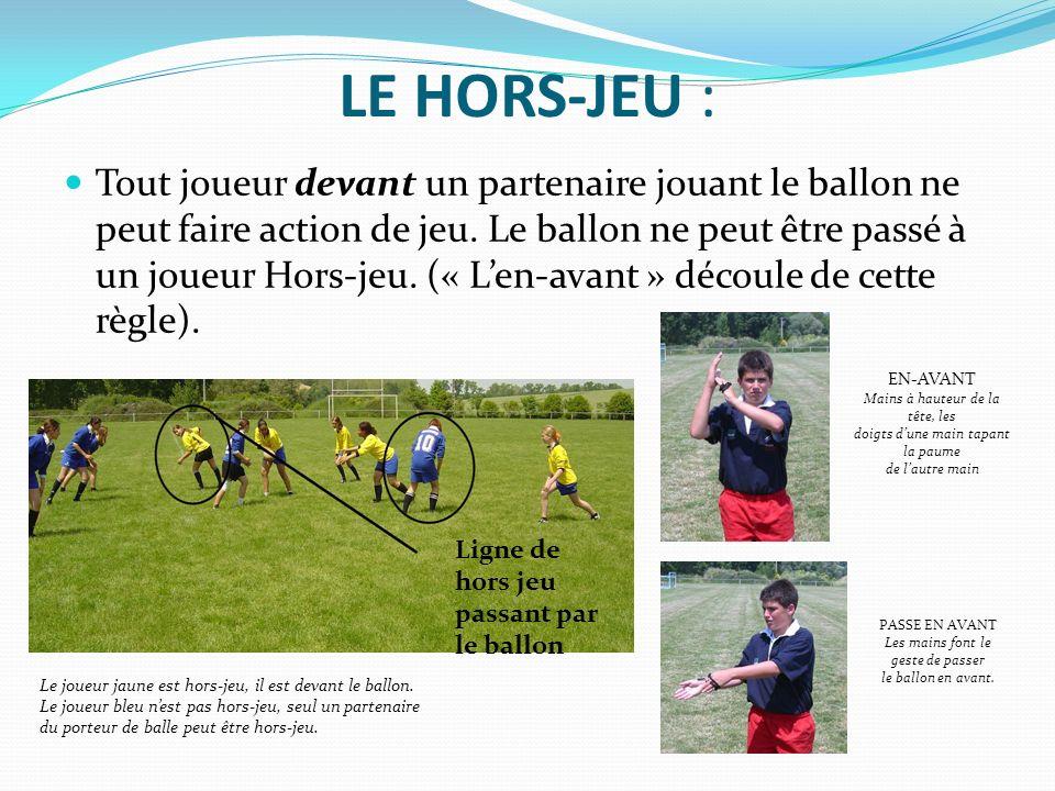 LE HORS-JEU : Tout joueur devant un partenaire jouant le ballon ne peut faire action de jeu. Le ballon ne peut être passé à un joueur Hors-jeu. (« Len