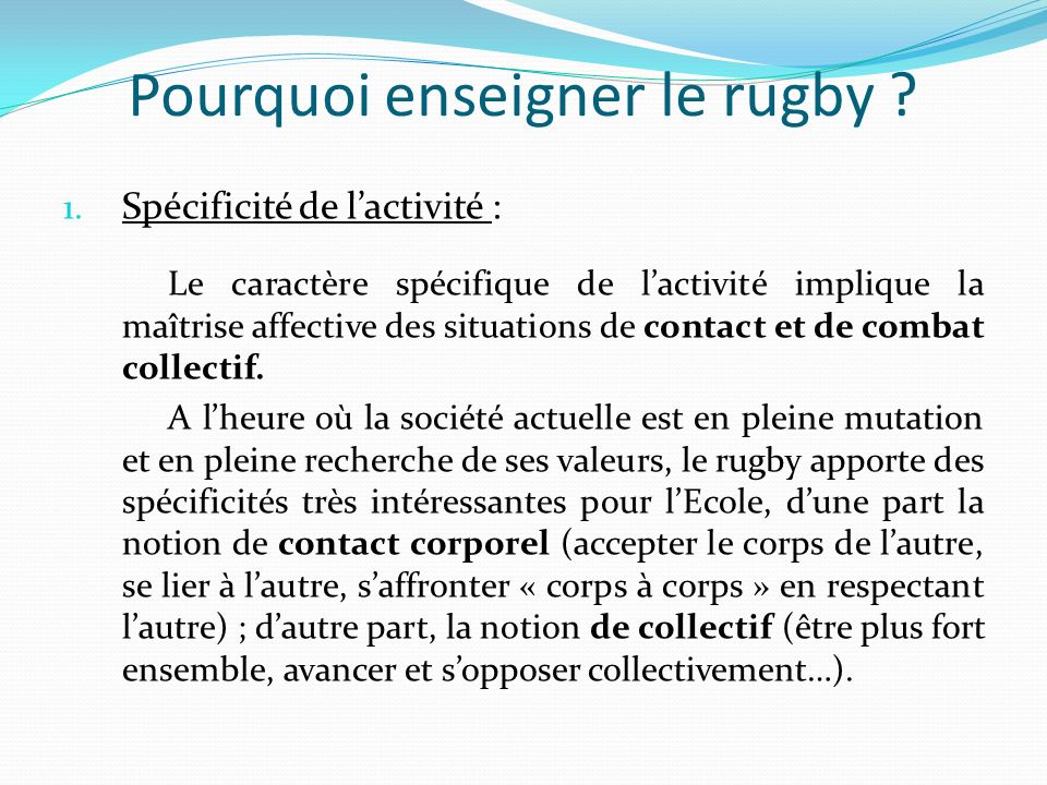 Pourquoi enseigner le rugby .2.