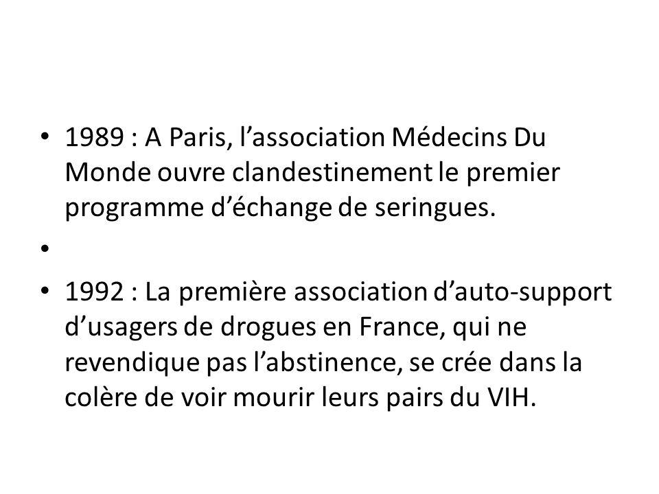1989 : A Paris, lassociation Médecins Du Monde ouvre clandestinement le premier programme déchange de seringues.