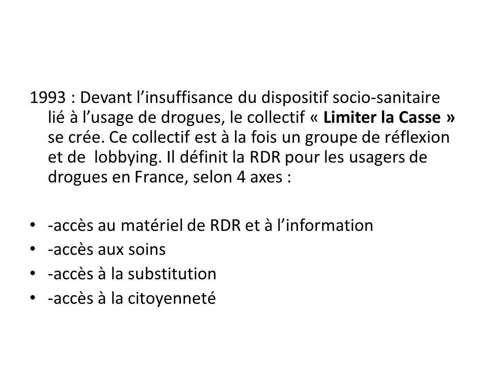 1993 : Devant linsuffisance du dispositif socio-sanitaire lié à lusage de drogues, le collectif « Limiter la Casse » se crée.