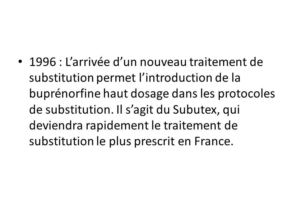 1996 : Larrivée dun nouveau traitement de substitution permet lintroduction de la buprénorfine haut dosage dans les protocoles de substitution.