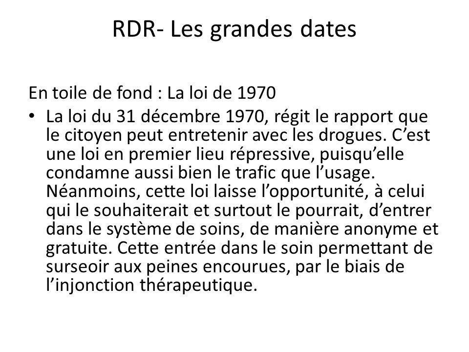 RDR- Les grandes dates En toile de fond : La loi de 1970 La loi du 31 décembre 1970, régit le rapport que le citoyen peut entretenir avec les drogues.