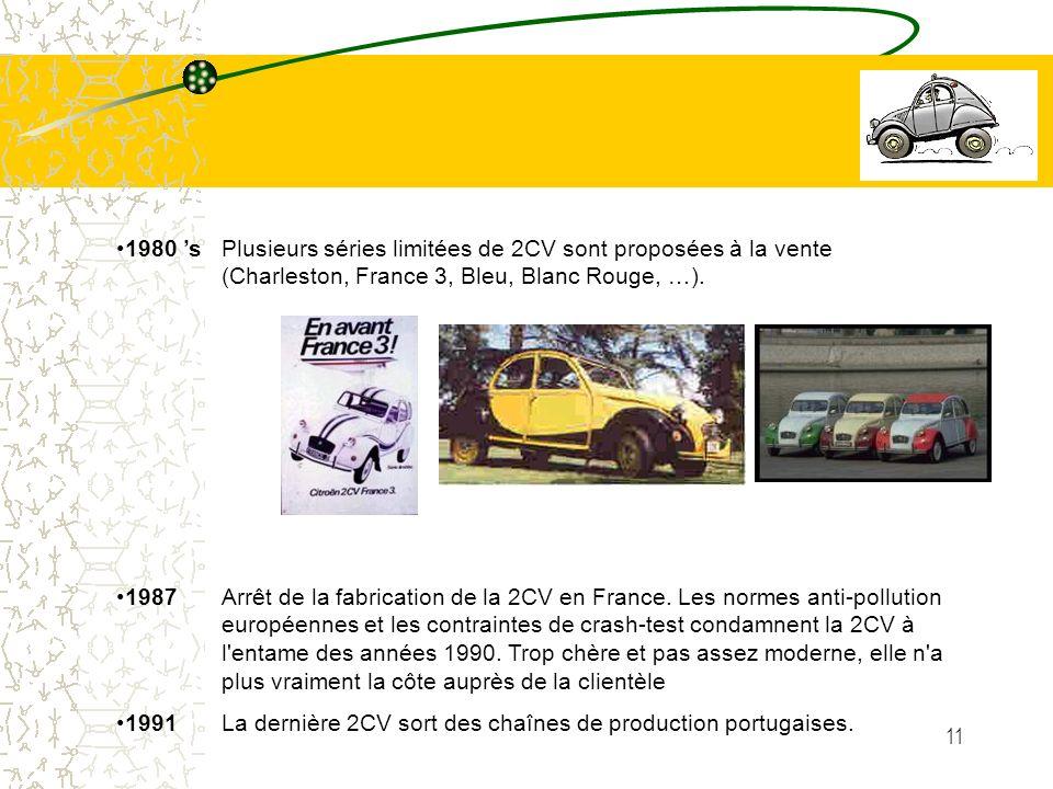11 1980 s Plusieurs séries limitées de 2CV sont proposées à la vente (Charleston, France 3, Bleu, Blanc Rouge, …). 1987 Arrêt de la fabrication de la
