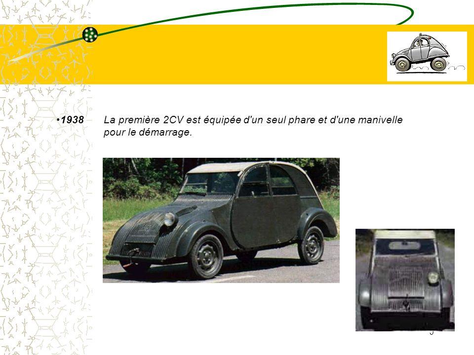 5 1938La première 2CV est équipée d'un seul phare et d'une manivelle pour le démarrage.
