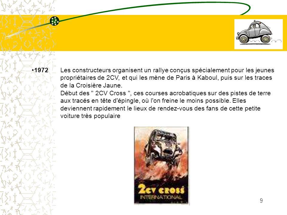 9 1972 Les constructeurs organisent un rallye conçus spécialement pour les jeunes propriétaires de 2CV, et qui les mène de Paris à Kaboul, puis sur le