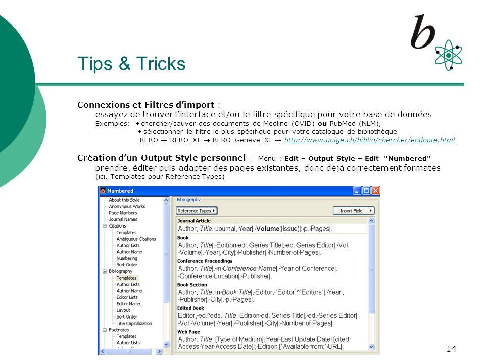 15 Application pratique Apprentissage : session pratique pour lutilisation de EndNote 1h30 à la salle de des PC de la Bibliothèque des Sciences Liste dinscription : travail par petits groupes, si possible de même niveau (EndNote basique ou avancé) Votre collection de références dans EndNote : exécutez dabord une bonne recherche bibliographique, ceci dans la base de données la plus spécifique dans votre domaine de recherche et noubliez pas de faire la sélection et la sauvegarde des références .