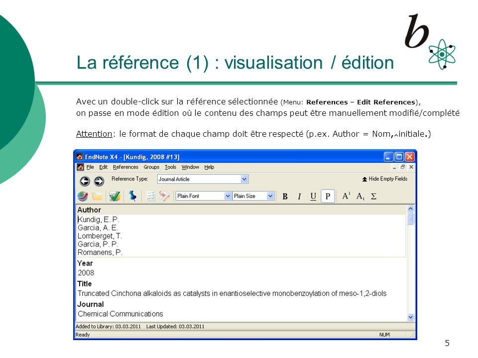 6 La référence (2) : ajouts et liens Recherche du text intégral : Find Full Text (Menu: References – Find Full Text), Exemples dajouts typiques: Keywords, URL, Figures, File Attachments (fichiers.pdf) pour afficher les options dun champ, un click droit affiche les possibilités Attention: le lien dun fichier.pdf est par défaut relatif le fichier se trouvera dans le répertoire.DATA (ici, dans Test.DATA qui contient les fichiers spécifiques à Test.enl) Pour définir un lien absolu (p.ex.