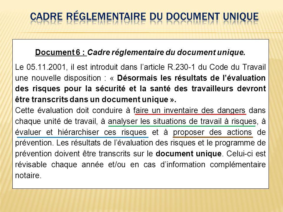 Document 6 : Cadre réglementaire du document unique. Le 05.11.2001, il est introduit dans larticle R.230-1 du Code du Travail une nouvelle disposition