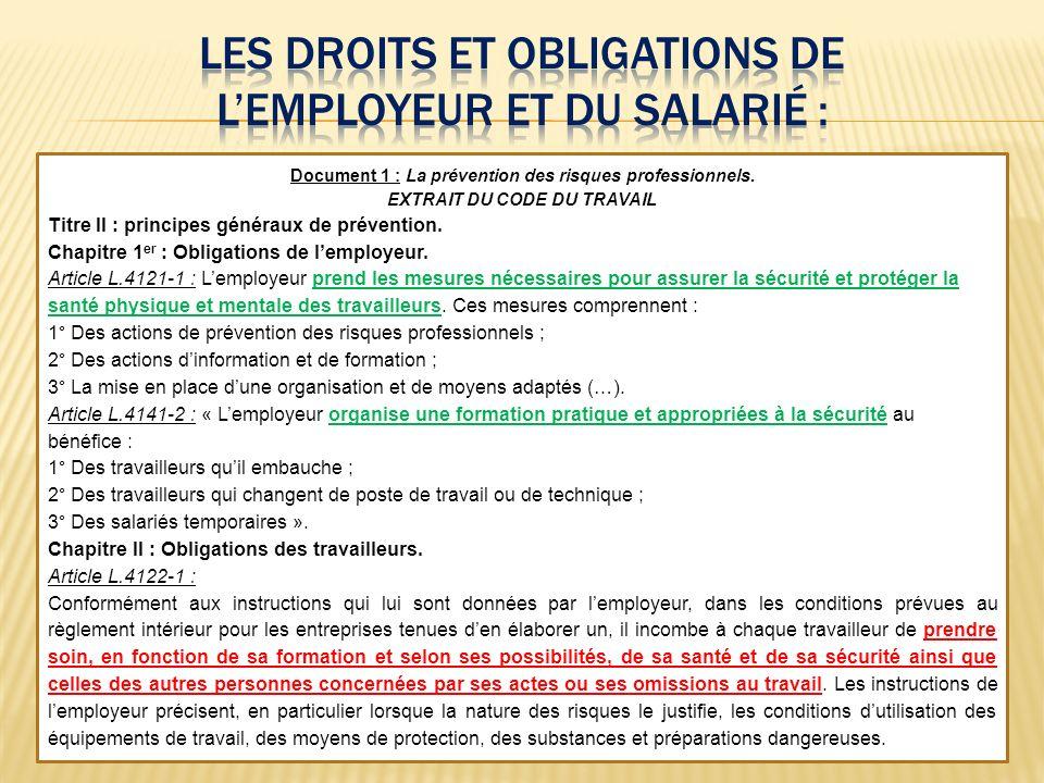 Document 1 : La prévention des risques professionnels. EXTRAIT DU CODE DU TRAVAIL Titre II : principes généraux de prévention. Chapitre 1 er : Obligat