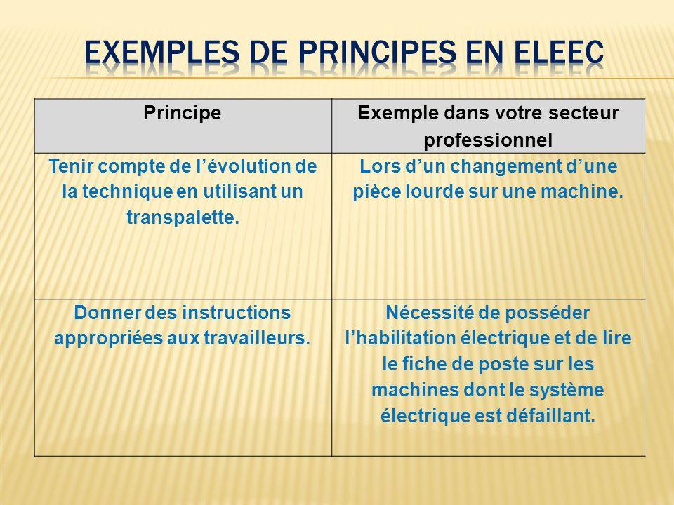 Principe Exemple dans votre secteur professionnel Tenir compte de lévolution de la technique en utilisant un transpalette. Lors dun changement dune pi