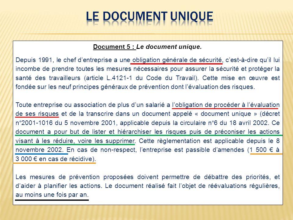 Document 5 : Le document unique. Depuis 1991, le chef dentreprise a une obligation générale de sécurité, cest-à-dire quil lui incombe de prendre toute