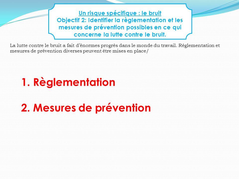 Un risque spécifique : le bruit Objectif 2: Identifier la règlementation et les mesures de prévention possibles en ce qui concerne la lutte contre le