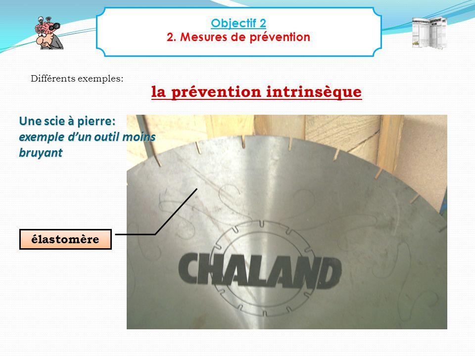 Objectif 2 2. Mesures de prévention Différents exemples: élastomère Une scie à pierre: exemple dun outil moins bruyant la prévention intrinsèque