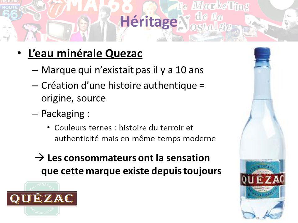Héritage Leau minérale Quezac – Marque qui nexistait pas il y a 10 ans – Création dune histoire authentique = origine, source – Packaging : Couleurs t