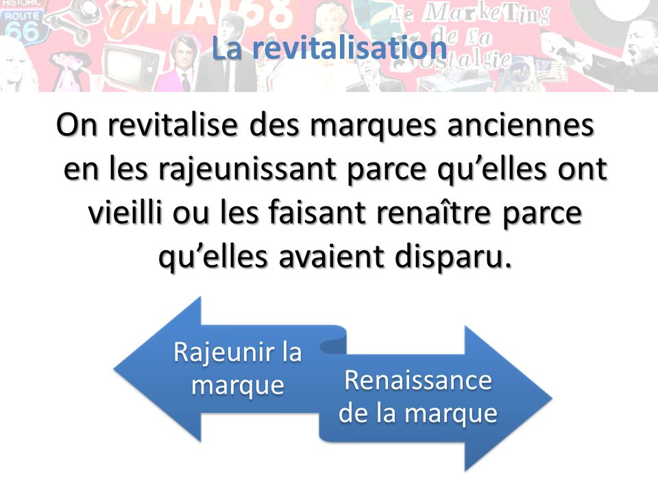 La La revitalisation On revitalise des marques anciennes en les rajeunissant parce quelles ont vieilli ou les faisant renaître parce quelles avaient d