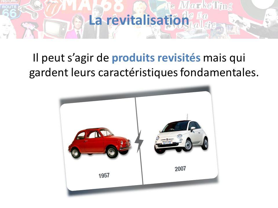 La revitalisation Il peut sagir de produits revisités mais qui gardent leurs caractéristiques fondamentales.
