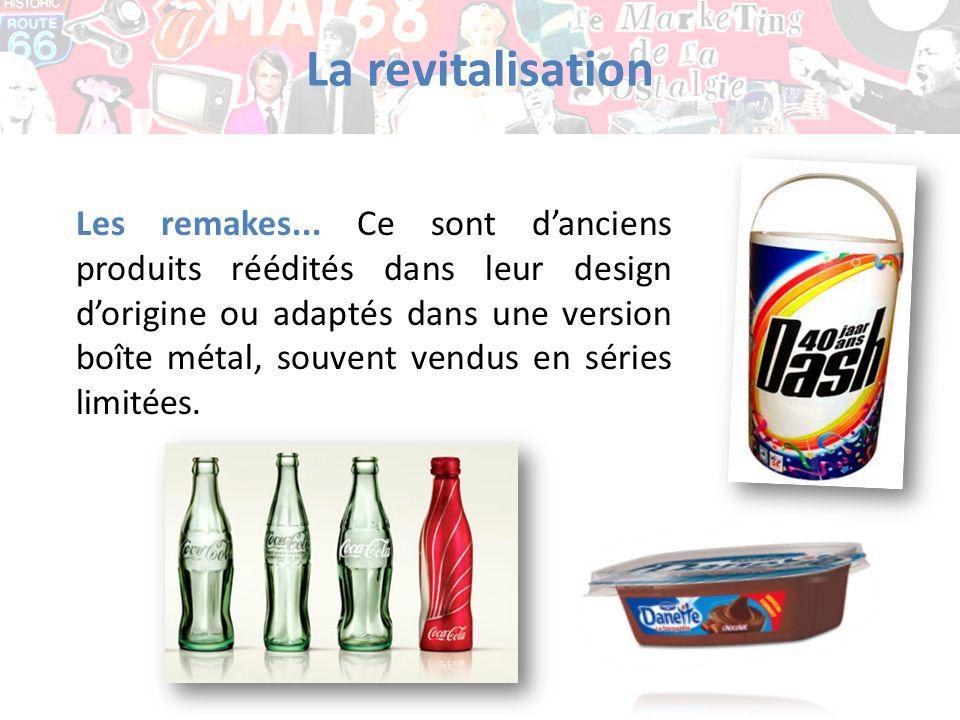 La revitalisation Les remakes... Ce sont danciens produits réédités dans leur design dorigine ou adaptés dans une version boîte métal, souvent vendus