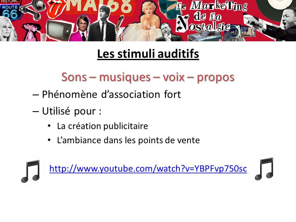 Les stimuli auditifs Sons – musiques – voix – propos – Phénomène dassociation fort – Utilisé pour : La création publicitaire Lambiance dans les points