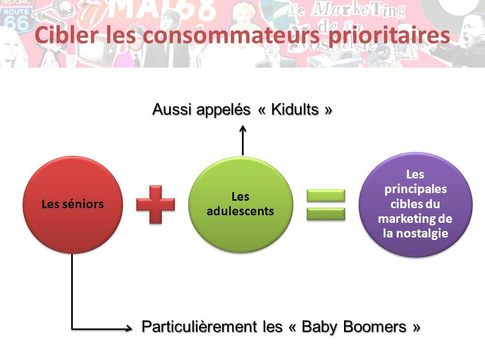 Cibler les consommateurs prioritaires Les séniors Les adulescents Les principales cibles du marketing de la nostalgie Particulièrement les « Baby Boom
