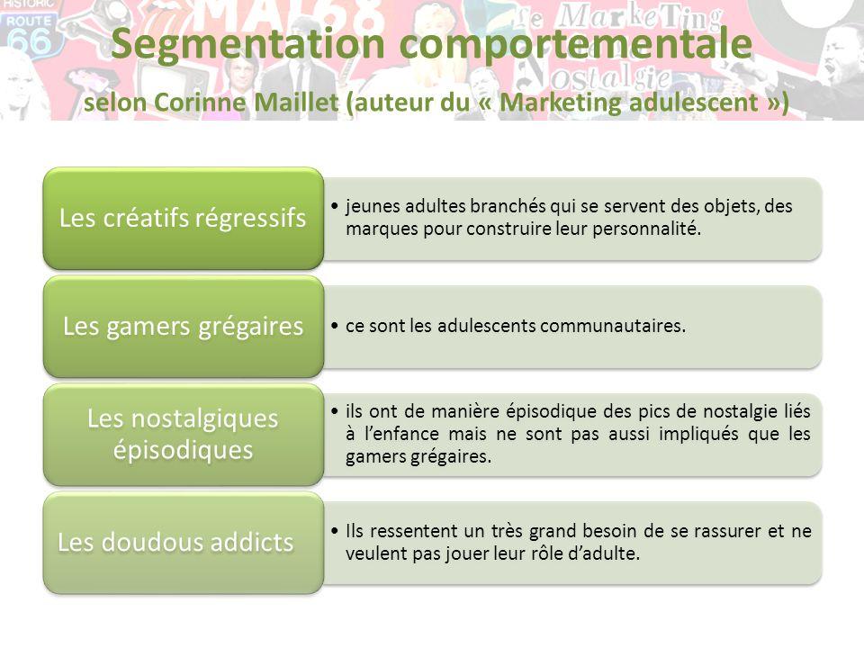 Segmentation comportementale selon Corinne Maillet (auteur du « Marketing adulescent ») jeunes adultes branchés qui se servent des objets, des marques