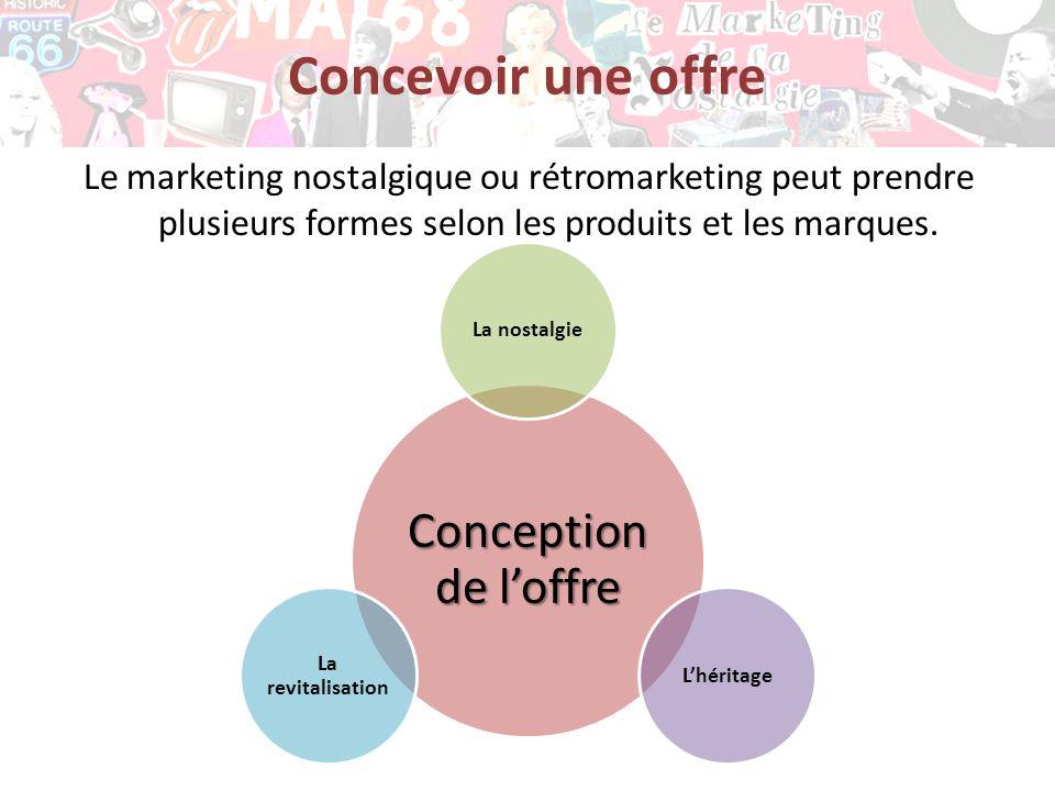 Concevoir une offre Le marketing nostalgique ou rétromarketing peut prendre plusieurs formes selon les produits et les marques. Conception de loffre L
