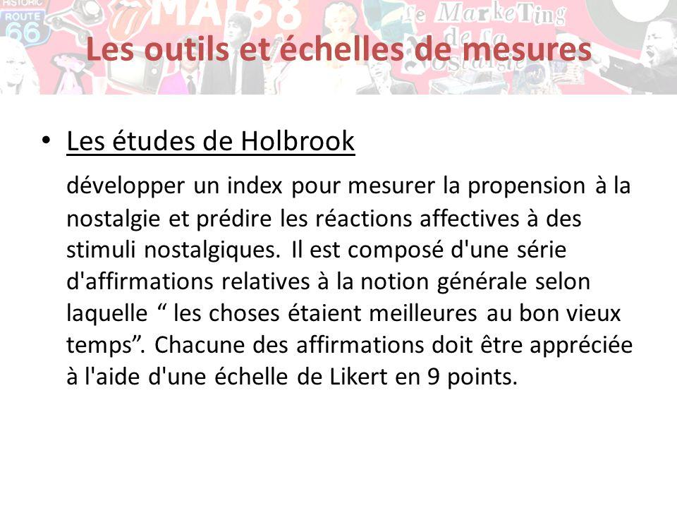 Les études de Holbrook développer un index pour mesurer la propension à la nostalgie et prédire les réactions affectives à des stimuli nostalgiques. I