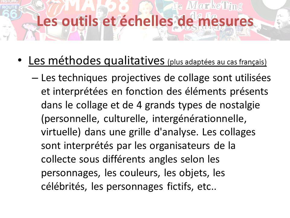 Les méthodes qualitatives (plus adaptées au cas français) – Les techniques projectives de collage sont utilisées et interprétées en fonction des éléme