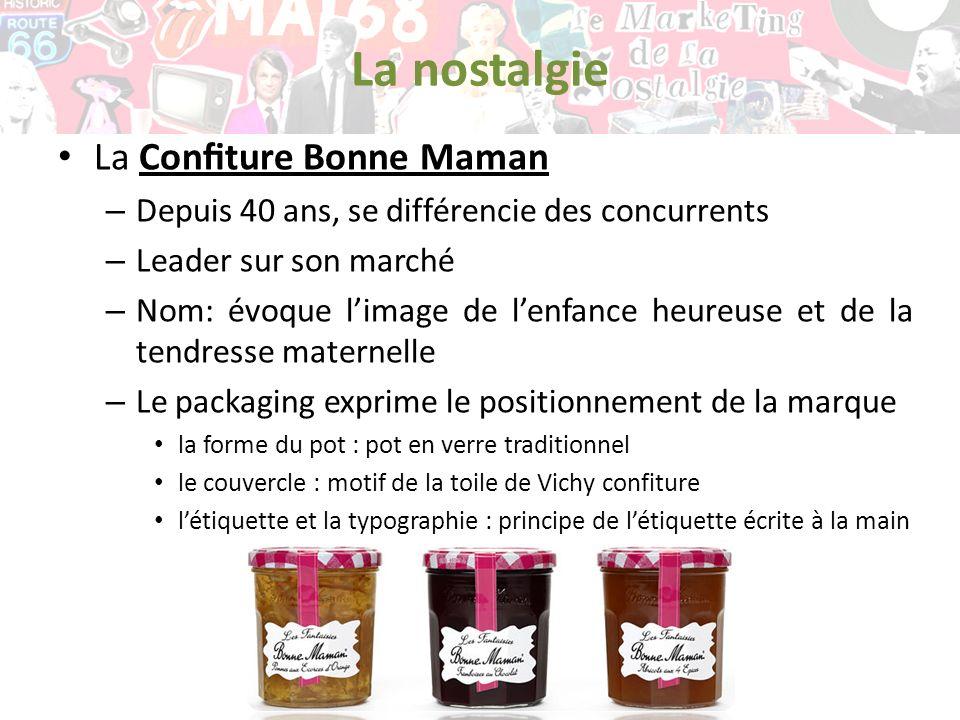 La nostalgie La Conture Bonne Maman – Depuis 40 ans, se différencie des concurrents – Leader sur son marché – Nom: évoque limage de lenfance heureuse