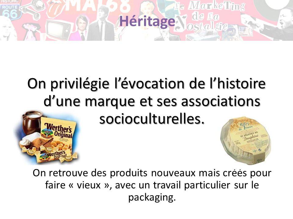 Héritage On privilégie lévocation de lhistoire dune marque et ses associations socioculturelles. On retrouve des produits nouveaux mais créés pour fai