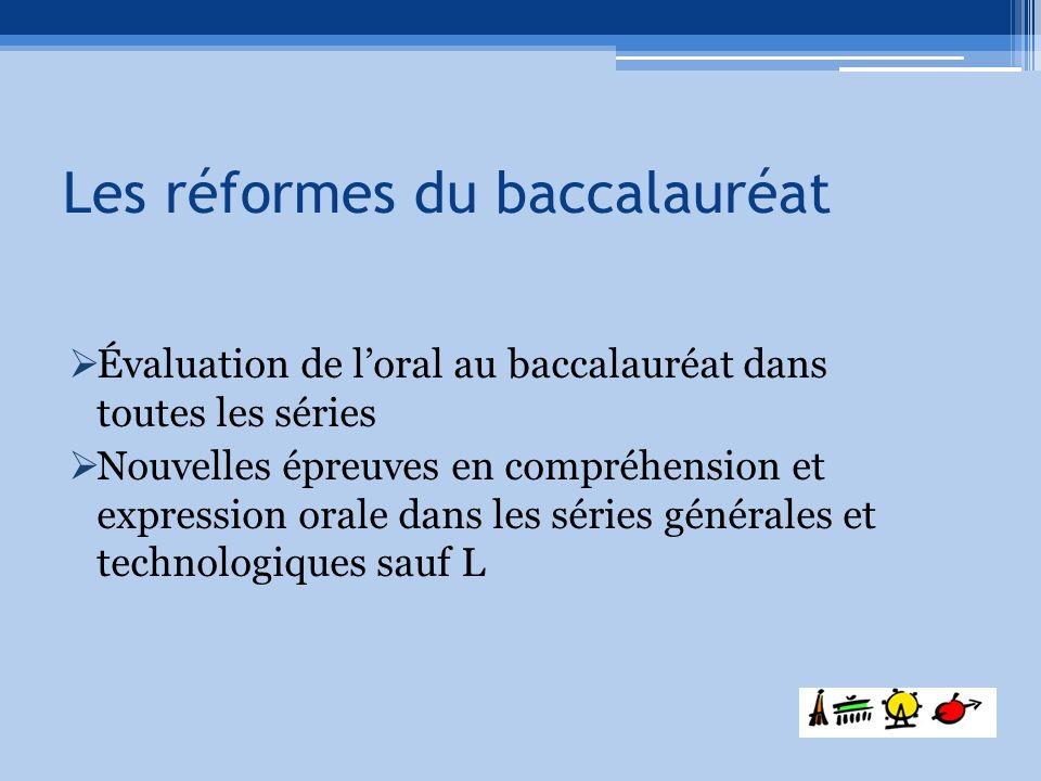 Les réformes du baccalauréat Évaluation de loral au baccalauréat dans toutes les séries Nouvelles épreuves en compréhension et expression orale dans l