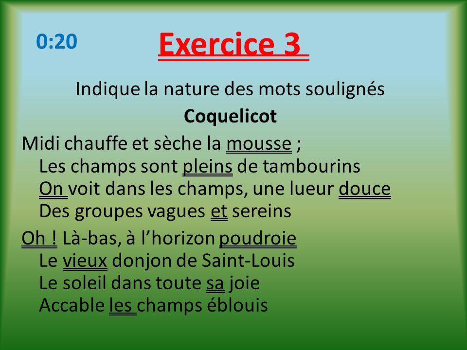 Exercice 3 Indique la nature des mots soulignés Coquelicot Midi chauffe et sèche la mousse ; Les champs sont pleins de tambourins On voit dans les cha