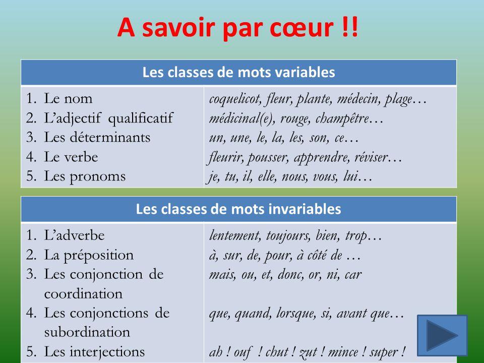 Exercice 1 Classe les mots suivants en deux groupes selon quils sont variables ou invariables.