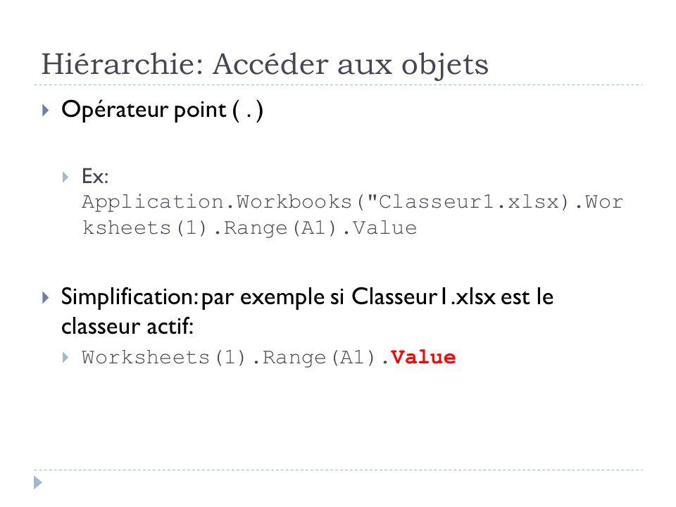 Hiérarchie: Accéder aux objets Opérateur point (. ) Ex: Application.Workbooks(