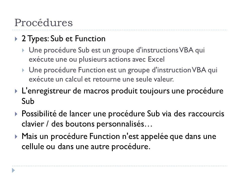 Procédures 2 Types: Sub et Function Une procédure Sub est un groupe d'instructions VBA qui exécute une ou plusieurs actions avec Excel Une procédure F