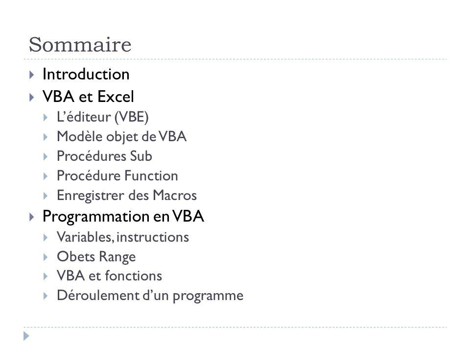 Sommaire Introduction VBA et Excel Léditeur (VBE) Modèle objet de VBA Procédures Sub Procédure Function Enregistrer des Macros Programmation en VBA Va