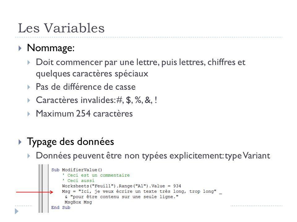 Les Variables Nommage: Doit commencer par une lettre, puis lettres, chiffres et quelques caractères spéciaux Pas de différence de casse Caractères inv