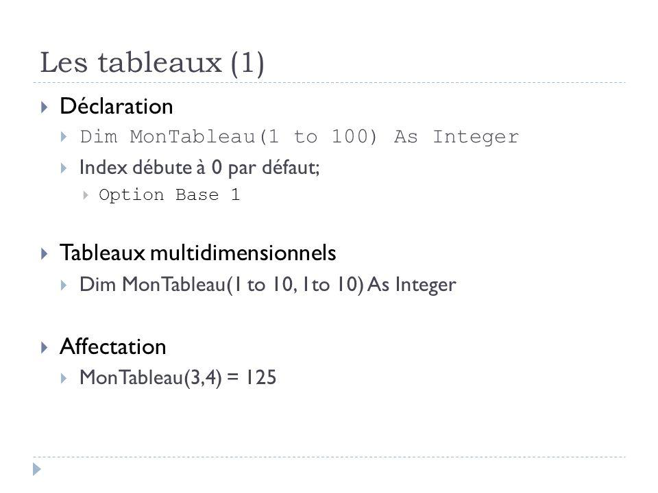 Les tableaux (1) Déclaration Dim MonTableau(1 to 100) As Integer Index débute à 0 par défaut; Option Base 1 Tableaux multidimensionnels Dim MonTableau