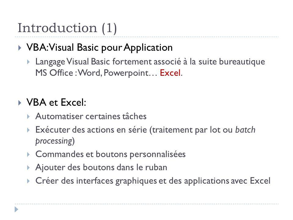 Avantages / inconvénients du VBA Avantages Inconvénients Automatisation dune exécution Rapidité Régularité Sans erreurs Apprentissage « facile » permettant détendre les fonctionnalités dExcel Fortement lié à Office Nécessite Excel Pérennité du code.