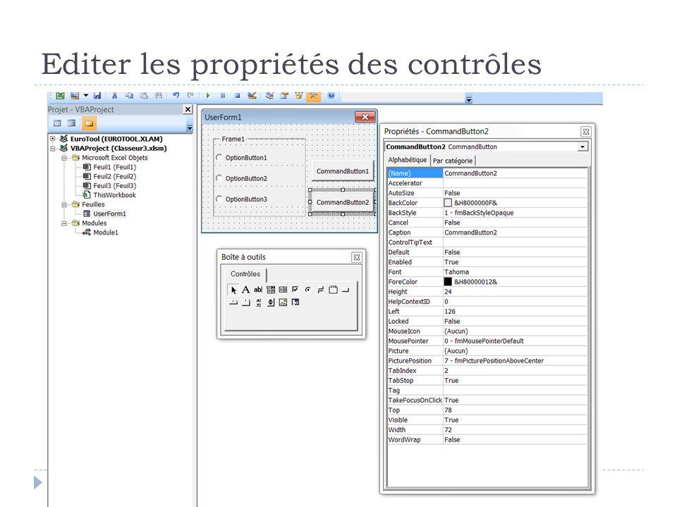 Editer les propriétés des contrôles