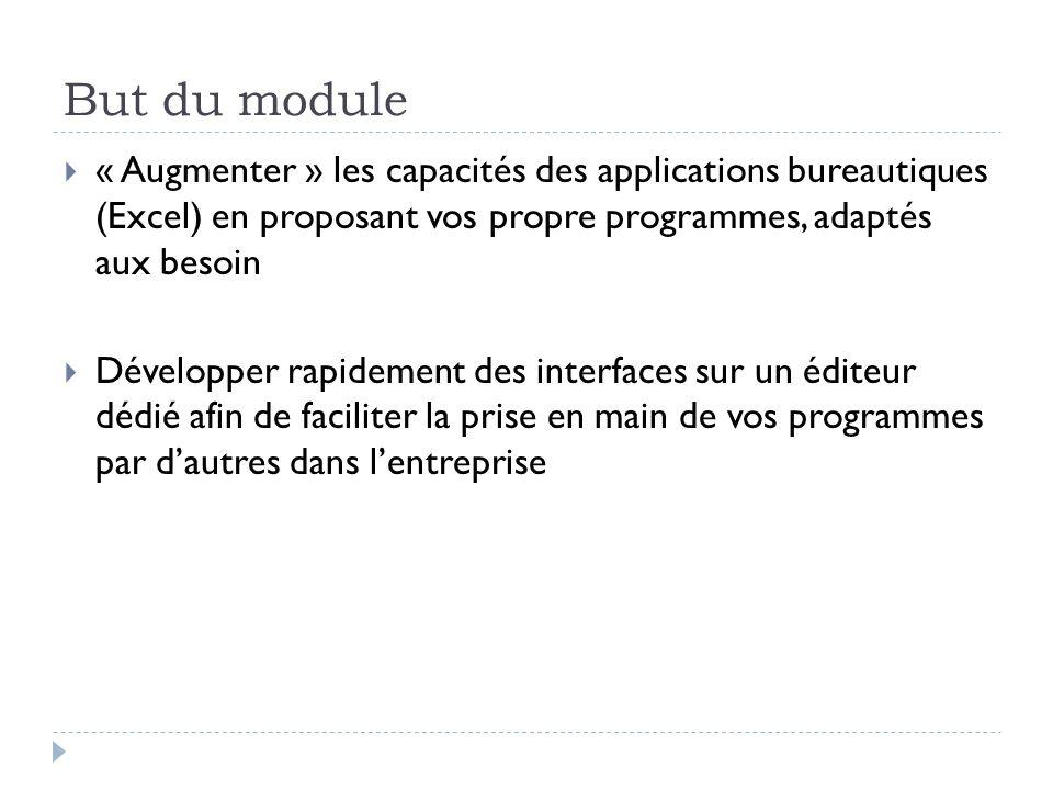 But du module « Augmenter » les capacités des applications bureautiques (Excel) en proposant vos propre programmes, adaptés aux besoin Développer rapi